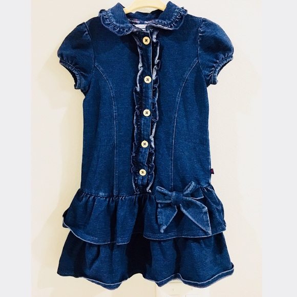 c7fbdeda301 Hartstrings Girls Denim Ruffle Dress Size 4